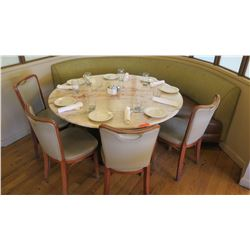 Large Round Natural Stone Table (Dia. ) w/4 Chairs