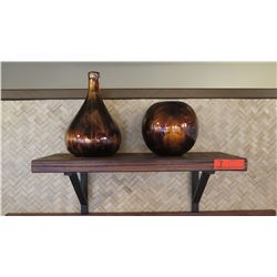 2 Bracketed Wooden Shelf w/ 2 Glass Swirl Vases