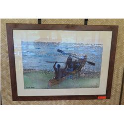 "Framed Print: 2 Men in Canoe, Artist Damon Moss (38.5"" X 29"")"