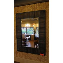 "Rustic Dark-Stained Natural Wood Mirror, 40"" x 30"""