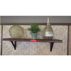 Floating Wooden Shelf w/Brackets (3ft Long) w/Decorative Accent Pieces