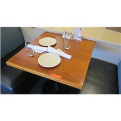 """Square Lacquered Natural Wood Table w/Rounded Base , 27"""" x 27"""""""