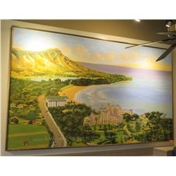 "Extremely Large Acrylic Painting, Diamond Head/Waikiki, 121.5"" x 73"", Captioned ""Waikiki Beach, Diam"