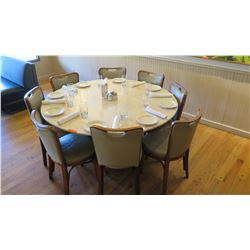 Large Round Natural Stone Table (5ft Dia. ) w/ 8 Chairs