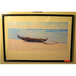 "Framed Print: Outrigger Canoe on White Sand Beach, 25.5"" x 37.5"""