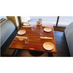 """Natural Wood Table w/Rounded Base, 44"""" X 36"""""""