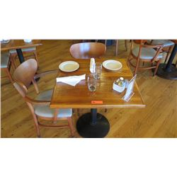"Natural Koa Wood Table w/Rounded Base, 29"" X 29"" w/2 Chairs"