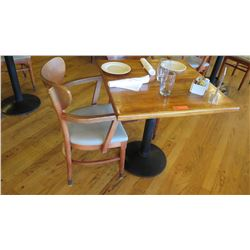 Natural Wood Table w/Rounded Base, 29X29 w/2 Chairs