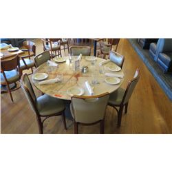 """Round Marble Table w/Round Base (53.5"""" Dia.) w/6 Chairs"""