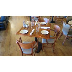 "Natural Wood Table w/Rounded Base (35"" x 35"") w/3 Chairs"