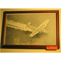 "Black & White Print: China Clipper Taking Off For Orient, 12.5"" x 18"""