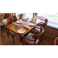 """Natural Wood Table w/Rounded Base (46"""" x 29"""") w/4 Chairs"""