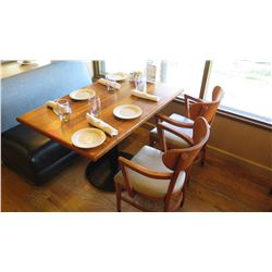 "Natural Wood Table w/Rounded Base (46"" x 29"") w/2 Chairs"