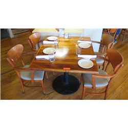 "Natural Koa Wood Table w/Rounded Base (35"" x 35"") w/4 Chairs"