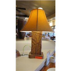 Carved Wood Lamp, Approx. 24""