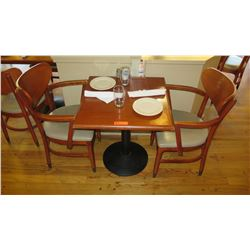 "Lacquered Natural Wood Table w/Round Base,(25"" x 25""), 2 Chairs"