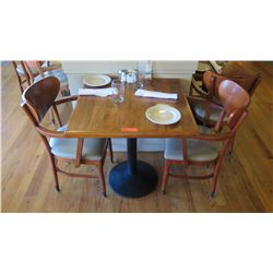 "Natural Koa Wood Table w/Rounded Base (25"" x 25"") w/2 Chairs"
