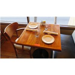 "Natural Koa Wood Table w/Rounded Base, 29"" X 29"" w/1 Chair"