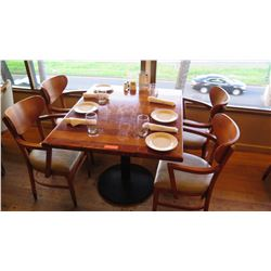 "Natural Koa Wood Table w/Rounded Base (44"" X 36"") w/4 Chairs"