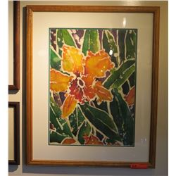 Framed Original Water Color, Yellow Orchid 32x26