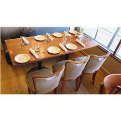 """Natural Wood Table w/Rounded Base (63"""" x 29"""") w/3 Chairs"""