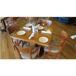 """Natural Wood Table w/Rounded Base (25"""" x 25"""") w/3 Chairs"""