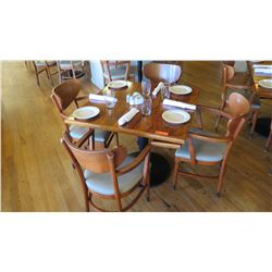 """Natural Wood Table w/Rounded Base (25"""" x 25"""") w/4 Chairs"""