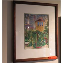 "Framed Watercolor: Chapel 22"" x 17.5"", Artist-Signed"