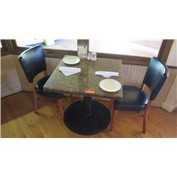 """Square Granite Table w/Round Metal Base (29"""" x 29""""), 2 Chairs"""