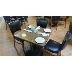 """Square Granite Table w/Round Metal Base (29"""" x 29""""), 3 Chairs"""