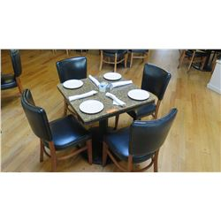 """Square Granite Table w/Round Metal Base (29"""" x 29""""), 4 Chairs"""