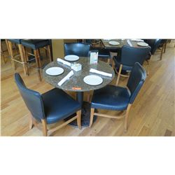 "Round Granite Table w/Round Metal Base (34"" Dia.), 3 Chairs"