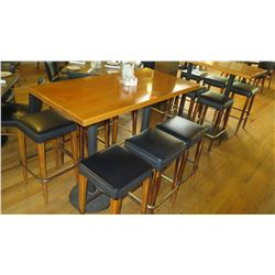 """Wooden Bar Height Table (54""""x27"""") w/6 Padded Barstools"""
