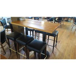 "Wooden Bar Height Table (54""x 27"") w/6 Padded Bar Stools"