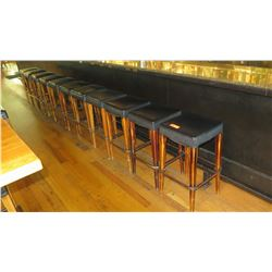Qty 11 Bar Height Padded Wooden Stools