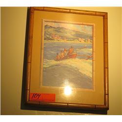 "Framed Vintage Print: Waikiki and Outrigger Canoe Riders 15"" x 12"""