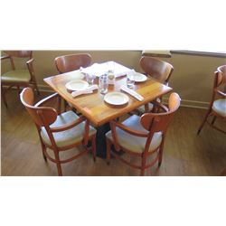"Natural Wood Table w/Rounded Base (35"" x 35"") w/4 Chairs"