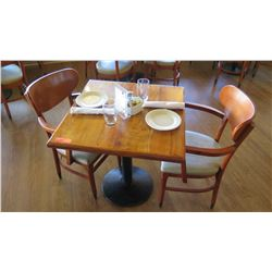 """Natural Koa Wood Table w/Rounded Base (28"""" x 29"""") w/2 Chairs"""