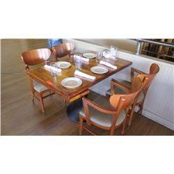 "Natural Wood Table w/Rounded Base (46"" x 29"") w/4 Chairs"