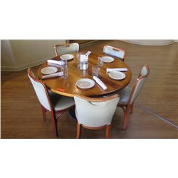 """Round Natural Koa Wood Table w/Rounded Base (46"""" x 29"""") w/5 Chairs"""