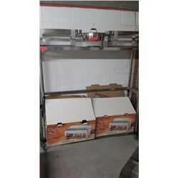 Contents of Shelves: Chafing Dishes, Chafing Dish Stands