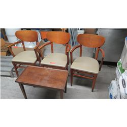 Qty 3 Wooden Chairs w/Padded Seats, Wooden Table