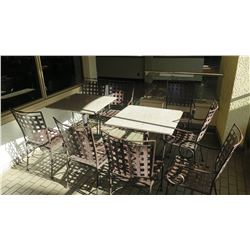 2 Patio Tables, 8 Metal Patio Chairs (stone tables are in varying conditions)