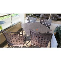 1 Patio Table, 4 Metal Patio Chairs (stone tables are in varying conditions)