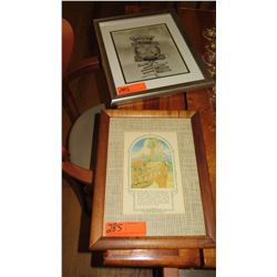 "Qty Framed Vintage Prints: B&W ""Crossroads of the Pacific"" & ""Primitive Hawaii"""