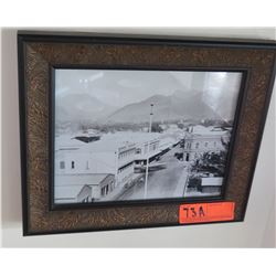 "Framed Black & White Vintage Photo: Downtown Honolulu?, 13"" x 11"""