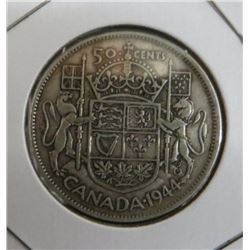 1944 Canadian King George 50 Cent Silver Coin