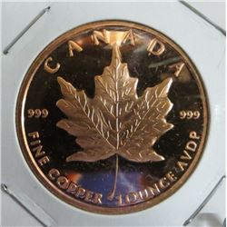 Canada Maple Leaf 1 Ounce .999 Fine Copper Coin