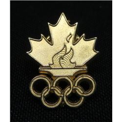 Olympic Flame Maple Leaf Collector Pin