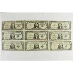 9 ASSORTED 1957 $1 SILVER CERTIFICATES